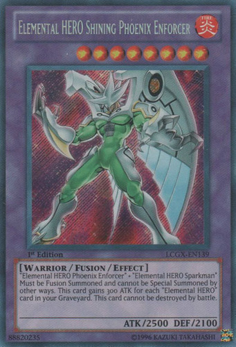 Yugioh Elemental Hero Shining Phoenix Enforcer Super DP05 1st Ed Lightly Played
